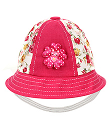 Babyhug Bucket Cap With Elastic Strap Floral Cat Applique - Dark Pink