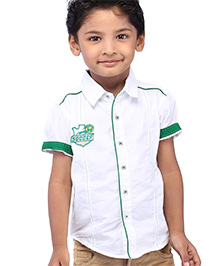 Babyhug Half Sleeves Shirt Soccer Club Logo - White And Green