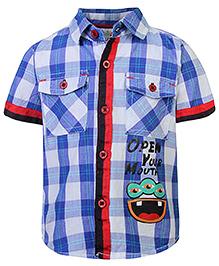 Babyhug Half Sleeves Check Shirt Emboss Print - Blue