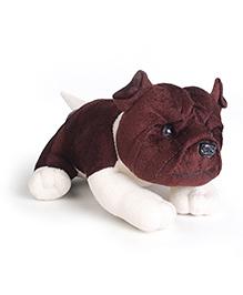 IR Bull Dog Soft Toy Dark Brown And White - Length 19.5 cm
