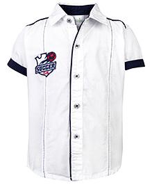 Babyhug Half Sleeves Shirt Soccer Club Logo - White And Navy Blue