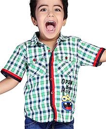 Babyhug Half Sleeves Check Shirt Emboss Print - Green