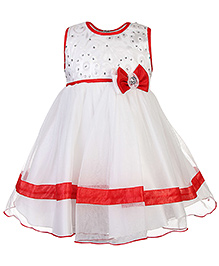 Babyhug Sleeveless Princess Dress Bead Detail - Red And White