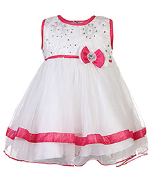 Babyhug Sleeveless Princess Dress Bead Detail - Pink And White