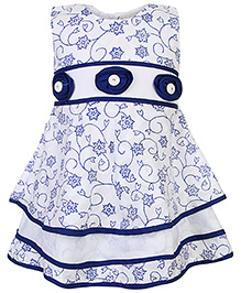 Babyhug Sleeveless Printed Frock Layered Hem and Motifs - Royal Blue