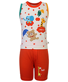Cucumber T-Shirt And Shorts Set Baby Animals Print - Off White Orange