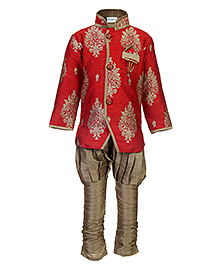 Babyhug Kurta And Jodhpuri Pajama Set Weaving Pattern - Red