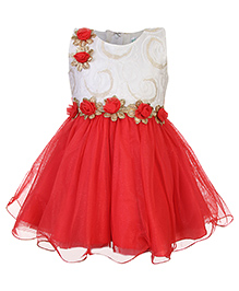 Babyhug Empire Pattern Frock Rosette Applique - Red