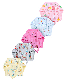 Babyhug Cloth Nappy With String Multi Print Small - Pack Of 5