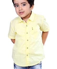 Babyhug Half Sleeves Solid Color Shirt With Logo - Yellow