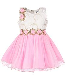 Babyhug Empire Pattern Frock Rosette Applique - Light Pink