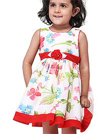 Babyhug Sleeveless Frock Rosette And Leaf Applique - Red