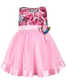 Babyhug Sleeveless High Waist Frock Floral Bow - Pink