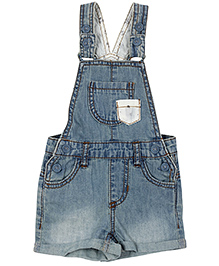 Fox Baby Turn Up Denim Dungaree - Light Blue