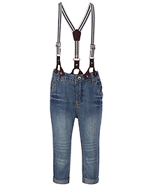 Fox Baby Jeans With Suspenders - Light Blue