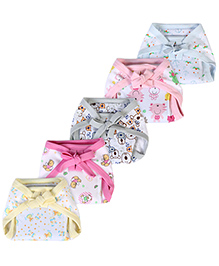 Babyhug Cloth Nappy With Insert Print On White Base Small - Pack Of 5
