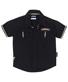 Little Kangaroos Half Sleeves Shirt Lilk Patch - Black