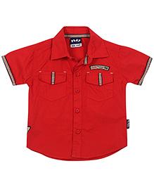 Little Kangaroos Half Sleeves Shirt Lilk Patch - Red