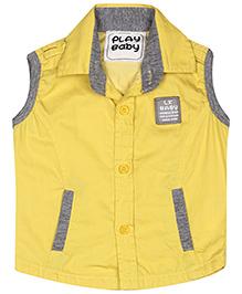 Little Kangaroos Sleeveless Shirt LK Baby Patch - Yellow