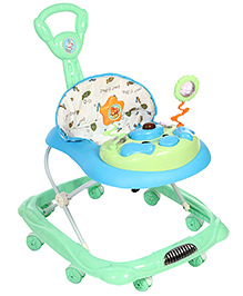 Baby Walker With Push Handle And Play Tray - Green
