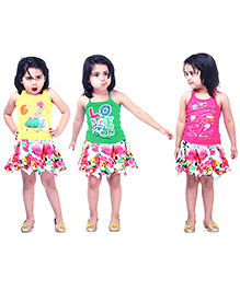 N-XT Skirt And Top Set Pack Of 4 - Multicolour