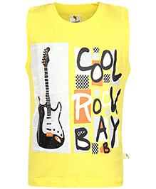 Cucumber Sleeveless T-Shirt Cool Rock Print - Yellow