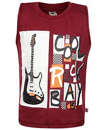 Cucumber Sleeveless T-Shirt Cool Rock Print - Maroon