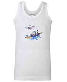 Doraemon Sleeveless Vest with Sport Print- White