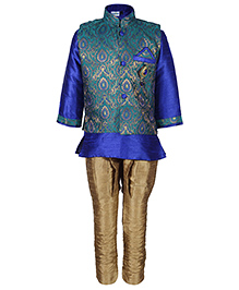 Babyhug Kurta And Jodhpuri Pajama With Jacket Self Design - Sea Green And Golden