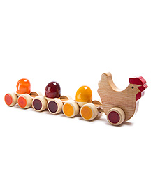 Oodees Wooden Rattle Tuck Tuck - Orange Yellow And Red