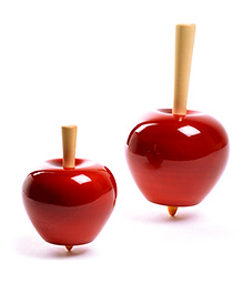 Oodees Wooden Apple Tops Red - Set of 2