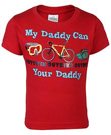 Babyhug Half Sleeves T-Shirt Caption Print - Red