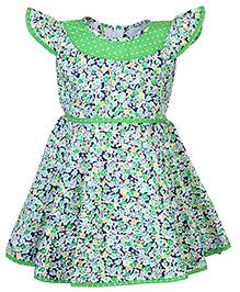 Babyhug Cap Sleeves Frock Floral Print - Green