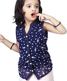Babyhug Sleeveless Mandarin Collar Top Heart Print - Navy Blue