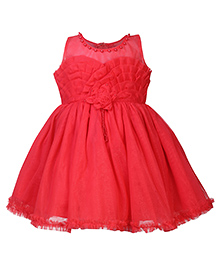 Babyhug Sleeveless Party Frock Floral Applique - Tomato Red