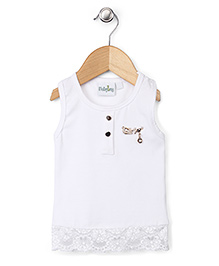 Babyhug Sleeveless Top Brooch Embellishment - White