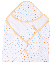 Babyhug Hooded Towel Star Print - White And Peach