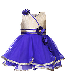 Babyhug Sleeveless Party Frock Floral Appliques - Blue