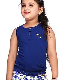 Babyhug Sleeveless Top Brooch Embellishment - Navy Blue