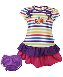 Cucumber Layered Frock With Bloomer Stripes - Purple