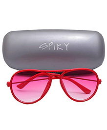 Spiky Aviator Sunglasses With Case - Red