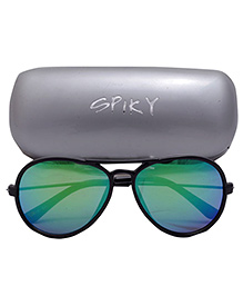 Spiky Aviator Sunglasses With Case - Blue
