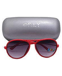 Spiky Aviator Sunglasses With Case - Red And Black