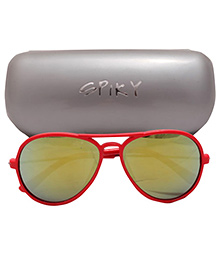 Spiky Aviator Sunglasses With Case - Red And Yellow