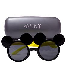 Spiky Mickey Shaped Sunglasses - Black Yellow And Grey