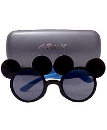 Spiky Mickey Shaped Sunglasses - Black Light Blue And Grey