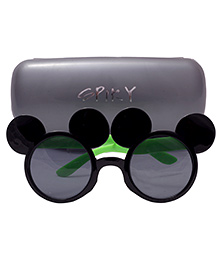 Spiky Mickey Shaped Sunglasses - Black Green And Grey
