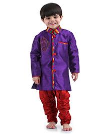 Babyhug Full Sleeves Kurta And Jodhpuri Pajama Beads Embroidery - Purple And Red