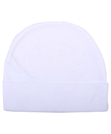 Babyhug Beanie Cap Embroidery - White