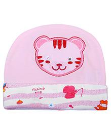 Babyhug Round Cap Kitty Motif - Pink
